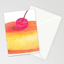 Caramel flan, vanilla custard, pop art watercolor illustration Stationery Cards