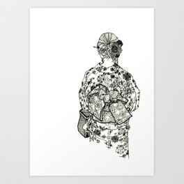 Geometric Black and White Drawing Japanese Yukata Kimono Art Print