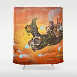 Flying Steampunk Turtle Shower Curtain