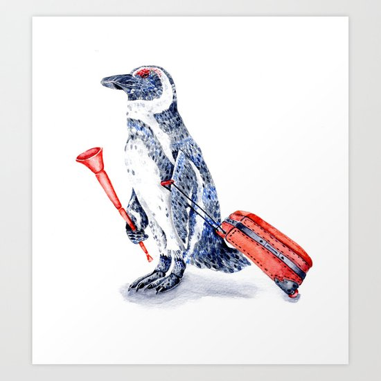 Penguin with a Suitcase and a Vuvuzela Art Print
