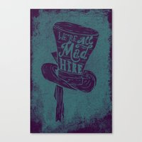 alice wonderland Canvas Prints featuring Alice in Wonderland by Drew Wallace