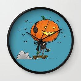 The Skater Pumpkin Wall Clock
