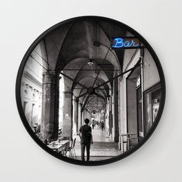 Black and white Bologna Street Photography Wall Clock