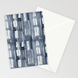 Simply Shibori Lines in Indigo Blue on Lunar Gray Stationery Cards