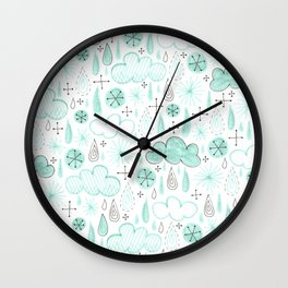 misty blue pattern with raindrops and clouds Wall Clock