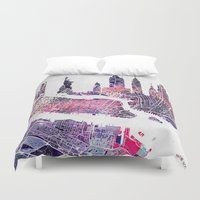 new york map Duvet Covers featuring New York Skyline + Map by Map Map Maps