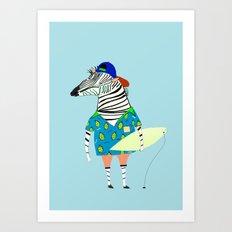 surfer zebra Art Print