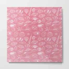 Unique museum collection of sea shells rare endangered species molluscs, white contour on pink background Metal Print