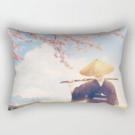 The warrior under the sakura tree Rectangular Pillow