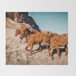 Wild Horses On Flowers Throw Blanket