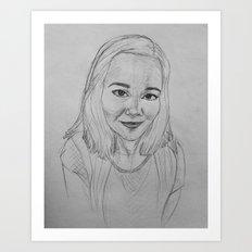 self portrait study in graphite Art Print