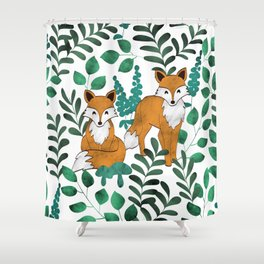Red Foxes (White) Shower Curtain