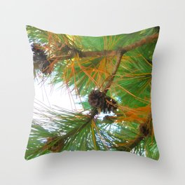 Beautiful fir tree branch with cones Throw Pillow