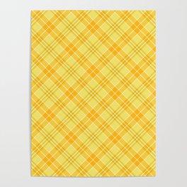 Yellow Diagonal Plaid Pattern Poster