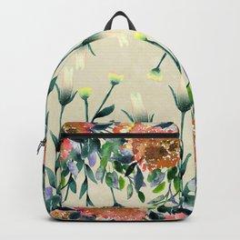Hand painted modern ivory orange brown watercolor floral Backpack