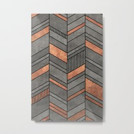 Abstract Chevron Pattern - Concrete and Copper Metal Print