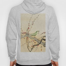 Songbird on peach tree - Vintage Japanese Woodblock Print Art Hoody