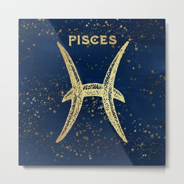Pisces Zodiac Sign Metal Print