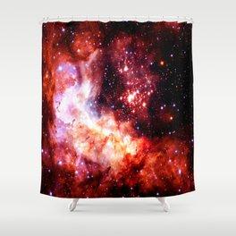 Celestial Fireworks Red Orange Shower Curtain