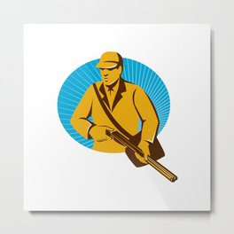 hunter hunting with shotgun rifle retro Metal Print