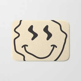 Wonky Smiley Face - Black and Cream Bath Mat