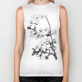 Cherry Blossoms Minimal Drawing Biker Tank