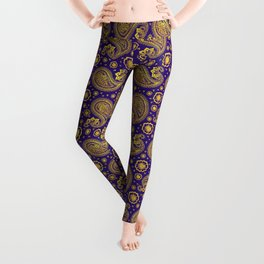 paisley: indigo & gold Leggings