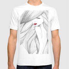 Red lips Mens Fitted Tee MEDIUM White