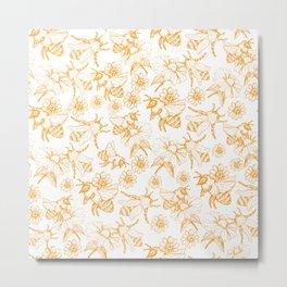 Aesthetic and simple bees pattern Metal Print