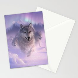 Wolf Pack Running - Northern Lights Stationery Cards