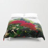 switzerland Duvet Covers featuring Flowers in Switzerland by Heather Hartley