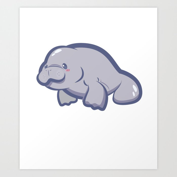 14682a59369b Manatee Retro Vintage Save The Floaty Potatoes design Gift Art Print ...