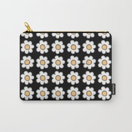 Retro Doodle Mini Flower - Black and Yellow Carry-All Pouch