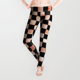 Black and Beige Checker Pattern Leggings