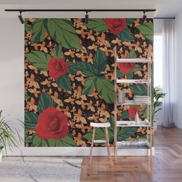 rose with dandelion - variant Wall Mural