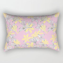 Pink and Yellow Floral Print Pattern with Petals Line details Rectangular Pillow