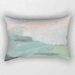 Seafoam Green Mint Black Blush Pink Abstract Nature Land Art Painting Rectangular Pillow