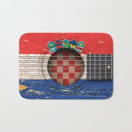 Old Vintage Acoustic Guitar with Croatian Flag Bath Mat