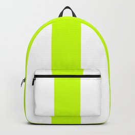 Wide Vertical Stripes - White and Fluorescent Yellow Backpack