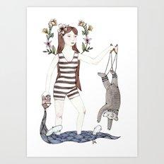 Dangle Bear Art Print