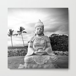 Hawaii Big Island Peaceful Buddha Black & White Photo Metal Print