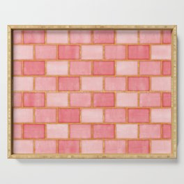 Blush Pink, Rose and Gold Watercolor Subway Tiles Serving Tray