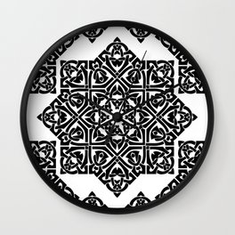 Celtic Knot Ornament Pattern Black and White Wall Clock