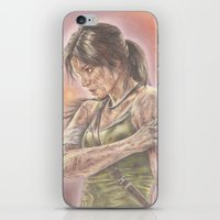 lara croft iPhone & iPod Skins featuring Miss Croft by JadeJonesArt
