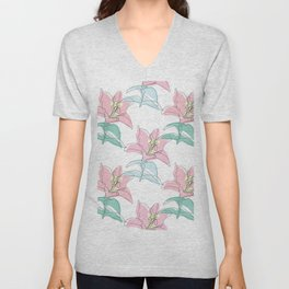 Pink Lilies Unisex V-Neck
