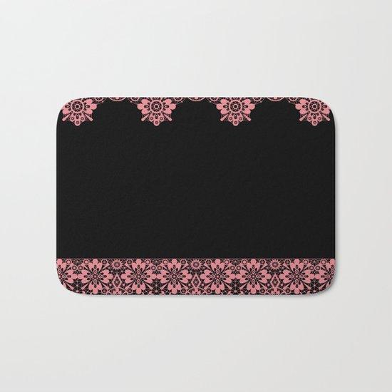 Retro .Vintage . Pink lace on a black background . Bath Mat