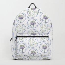 Violet green watercolor modern floral leaves pattern Backpack