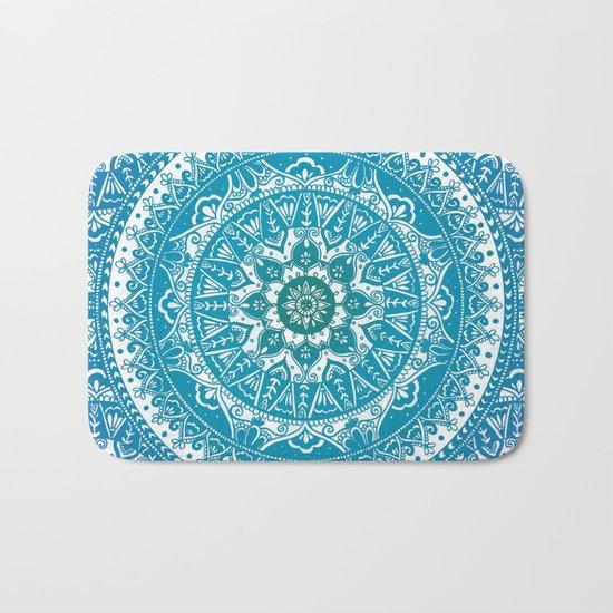 Aquamarine Mandala Pattern Bath Mat