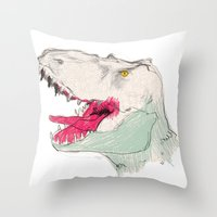 jurassic park Throw Pillows featuring JURASSIC PARK by Gianluca Floris
