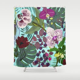 Orchid and Cosmos Flower Botanical Floral Shower Curtain